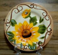 "TABLETOPS UNLIMITED - SUNNY - SUNFLOWER - 11"" HAND PAINTED - DINNER PLATES"