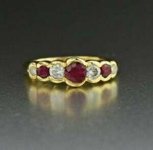 2Ct Round Cut Red Ruby & Diamond Vintage Engagement Ring 14K Yellow Gold Finish