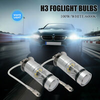 2x H3 100W High Power LED CREE HEADLIGHT FOG DRIVING LIGHT BULBS CAR LAMP GLOBE