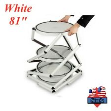 Usa 81 Round Folding Twist Display Counter With Shelves White Rack