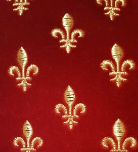 Fleur de Lis Red and Gold Embroidered Velvet Fabric by the Yard Exclusive