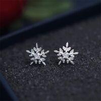 Ohrstecker Ohrring 925er Silber plattiert  Schneeflocke Blume Kristall  #SO2