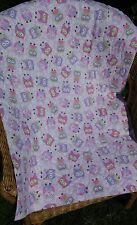 Handmade Bassinet stroller play mat gift cotton quilt pink and purple owls