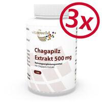 Vita World 3er Pack Chagapilz Extrakt 10:1 500mg 3 x 100 Vegi Kaps Birkenporling