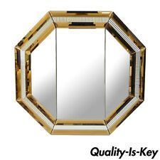 Large Modern Octagonal Tri Fold Wall Bathroom Vanity Mirror Peach Glass 42x45 A