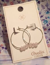 ORELIA HOOP EARRINGS ~RRP £15~ PINK SEMI PRECIOUS STONE BEADS JEWELLERY ~7188~