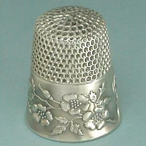 Antique Sterling Silver Wild Roses Thimble by Ketcham & McDougall * Circa 1900s