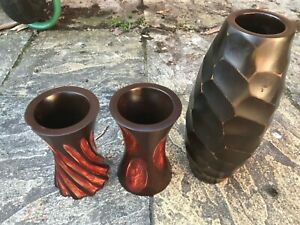 """3 x HANDMADE Solid MANGO WOOD Wooden Vases 14"""" / 8"""" Carved Docorative HOME"""