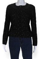 Diane Von Furstenberg Womens Maya Pebble Lace Leather Trim Jacket Black Size 4