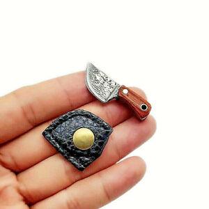 Smallest knife world working pocket mini tiny real Miniature FIXED Damascus edc
