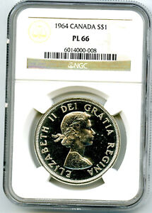 1964 $1 CANADA SILVER DOLLAR NGC PL66 CHARLOTTETOWN PROOF LIKE