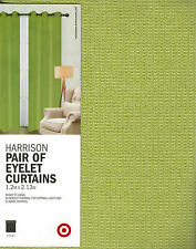 1 PAIR TARGET GREEN TEXTURED BLOCKOUT THERMAL EYELET CURTAINS 2 X 1.2M X 2.13M