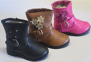 Girl Boots Booties w/Flowers TODDLER Dress Boots Black Fuchsia Tan (BCT-01i)