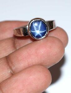 6-8 Carat Natural Star Blue Sapphire 925 Sterling Silver Unisex Gemstone Ring