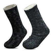 Xelay® Mens Fleece Thermal Chunky Gripper Slipper Bed Lounge Heated Socks UK6-11