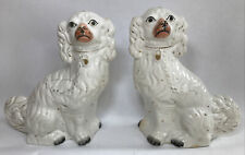More details for antique victorian staffordshire mantel spaniel dogs matched pair large