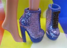 BARBIE FASHIONISTAS ARCH Foot Doll: PLATFORM PURPLE GLITTER Short Boots Shoes