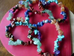 LGBT chakra bracelet gemstones chip 100% natural x 5 wholesale £1.55 each