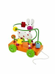 Mousehouse Wooden Pull Along Toy Dog Bead Maze Wooden Toy Baby or Toddler