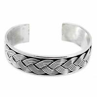 Mens Solid 925 Sterling Silver Bangle Bracelet, Silver Cuff for Men and Women