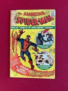 1963, SPIDER-MAN, (# 8) Comic Book (Scarce /Vintage) Stan Lee (HUMAN TORCH)