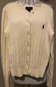 RALPH LAUREN Polo Girls Cable Knit Button Down Sweater Shirt - Sz 8 / 10 Medium