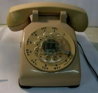 Vintage Beige  Tan Rotary Dial Desk Phone  - Bell System Western Electric 500