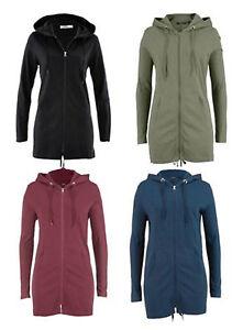 Shirtjacke mit Kapuze dünn, Parka-Jacke, Damenjacke, Longjacke in 4 Farben NEU