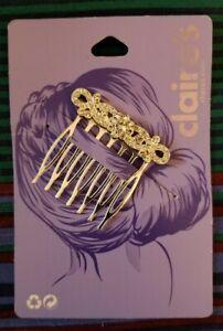 NEW Claire's Rhinestone Hair Comb Silver