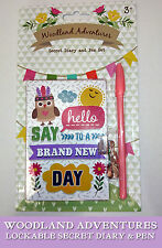 Woodland aventuras Secreto Diario y Rosa Pen Set Mini Candado saludar Nuevo Día