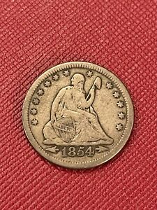1854 Philadelphia Mint Silver Seated Liberty Quarter with Arrows Semi Key Date