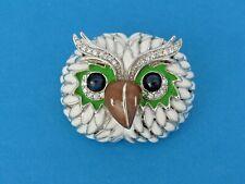 Sterling Silver Enameled Owl Pin Brooch