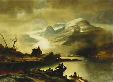 Oil Erik Bodom Bondhusbreen I Sunnhordland landscape & river in sunset canvas