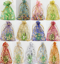 25/100Pcs Flower Printed Organza Wedding Candy Favor Packaging Gifts Bags 9x7CM