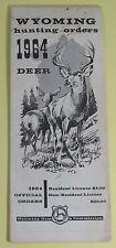 1964 Wyoming Hunting Orders Deer License Regulations Book...Free Shipping!