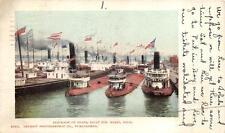 MILITARY BLOCKADE OF BOATS SAULT STE. MARIE MICHIGAN SHIP POSTCARD 1903