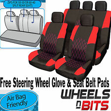 Ford Fiesta Focus RED & BLACK Cloth Car Seat Cover Full Set Split Rear Seat