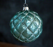 Christmas Ornament Glass Ball Aqua Blue Antiqued & Glitter Raz Imports 4 inches