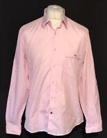 Lacoste Men's Casual Shirt Pink Size 42 Large 100% Cotton L/S