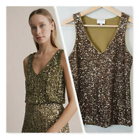 [ WITCHERY ] Womens Sequin V/ Neck Top  | Size XXS or AU 6 / US 2