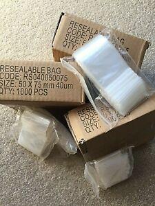 Zip lock 1000 Bags 75 x 50 mm  ziplock clip snap IN MELBOURNE  AustPost  40 mic