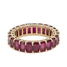 3ct Emerald Cut Pink Ruby Full Eternity Wedding Band Ring 14ct Rose Gold Over