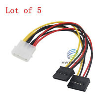 Lot of 5 IDE Molex 4-Pin to DUAL 2 SATA 15-Pin Splitter Y Adapter Power Cable