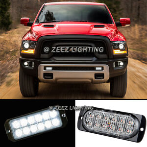 1X White 12 LED Emergency Hazard Flash Caution Strobe Beacon Warning Light Bar04