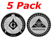 5 Pieces Freemason Challenge Coin, Mason Masonic Lodge Commemorative Coin Token