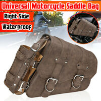 Right Side Motorcycle Saddle Bag Luggage Pannier + Fuel Bottle Holder Pouch