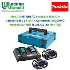 MAKITA KIT ENERGY modello 198077-8 Batterie 18V 2x6,0Ah + Caricabatterie DC18RD