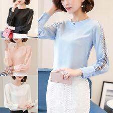 2017 Long Sleeve Ladies Office Shirts Korea Fashion Lace Hollow Women Top Blouse