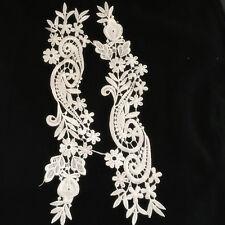 1 Pair Vintage Polyester  Lace Trim Applique Wedding Bridal Dress Sewing DIY31