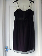 Ladies French  Connection 70%silk party evening dress NEW size 10 in Plum/black